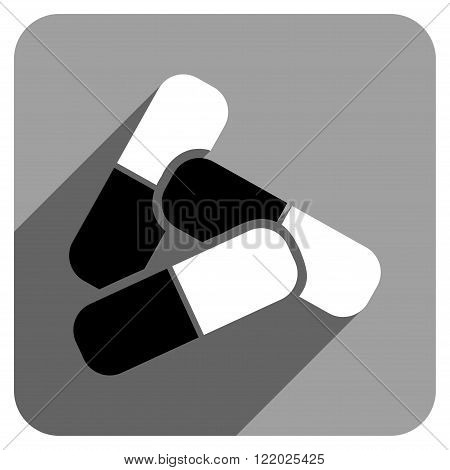 Pills long shadow vector icon. Style is a flat pills iconic symbol on a gray square background.