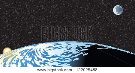Vector cartoon clip art illustration of the earth horizon seen from space with the rising sun and moon and stars in the background. Important elements are grouped in layers.