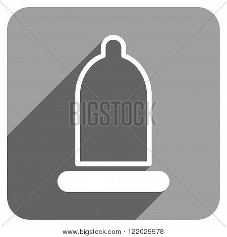 Preservative long shadow vector icon. Style is a flat preservative iconic symbol on a gray square background.