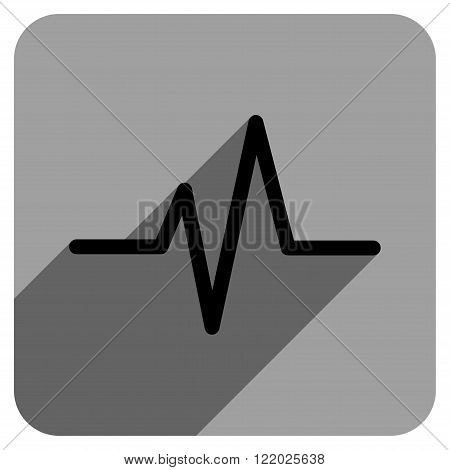 Pulse long shadow vector icon. Style is a flat pulse iconic symbol on a gray square background.