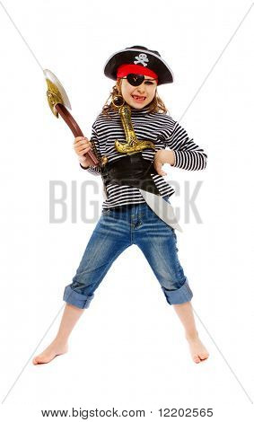 little girl in pirate's costume