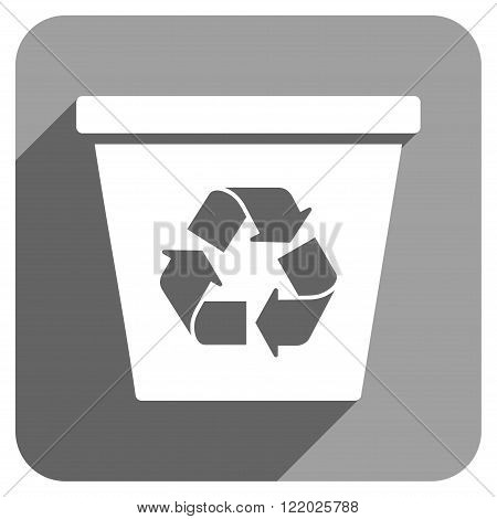 Recycle Bin long shadow vector icon. Style is a flat recycle bin iconic symbol on a gray square background.