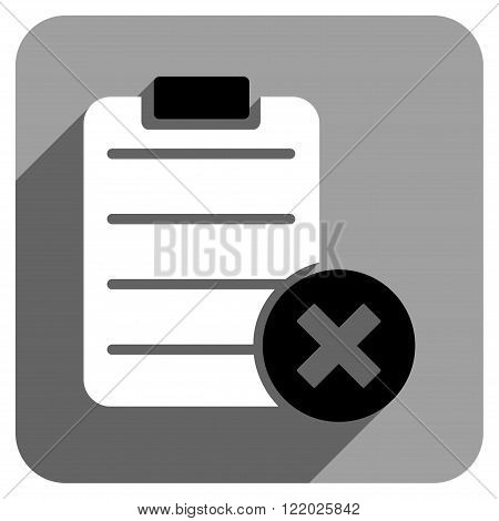 Reject Form long shadow vector icon. Style is a flat reject form iconic symbol on a gray square background.