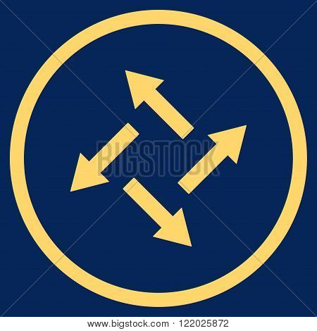 Centrifugal Arrows vector icon. Style is flat rounded iconic symbol, centrifugal arrows icon is drawn with yellow color on a blue background.