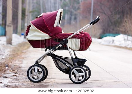 baby carriage on the road