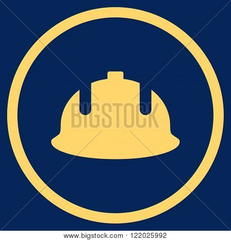Construction Helmet vector icon. Style is flat rounded iconic symbol, construction helmet icon is drawn with yellow color on a blue background.