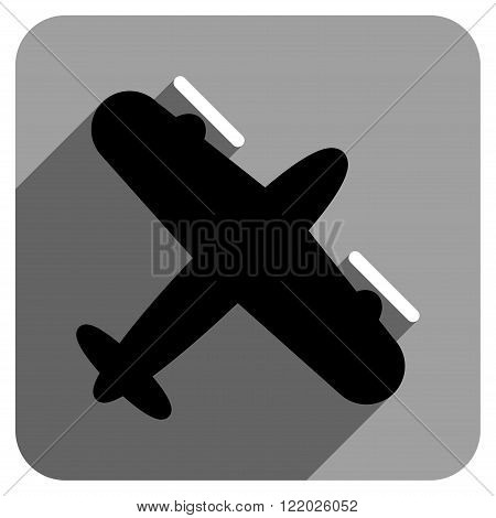 Screw Aeroplane long shadow vector icon. Style is a flat screw aeroplane iconic symbol on a gray square background.