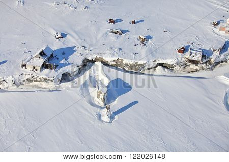 Aerial view of abandoned polar station on an isolated Vize Island (Wiese) island located in the Arctic Ocean  at the northern end of the Kara Sea