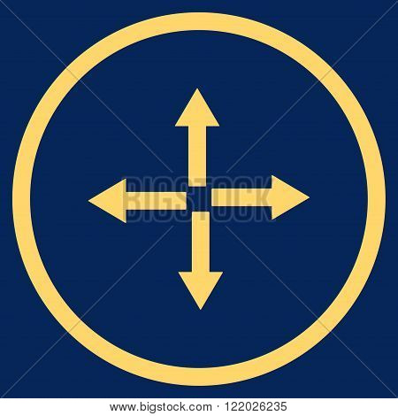 Expand Arrows vector icon. Style is flat rounded iconic symbol, expand arrows icon is drawn with yellow color on a blue background.
