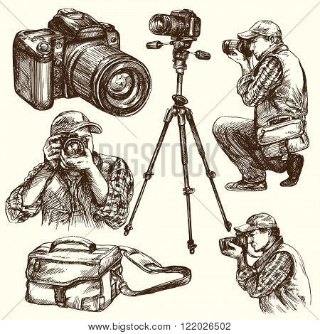 Photographer with camera. Hand drawn illustration.