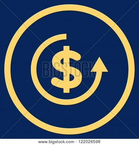 Refund vector icon. Style is flat rounded iconic symbol, refund icon is drawn with yellow color on a blue background.