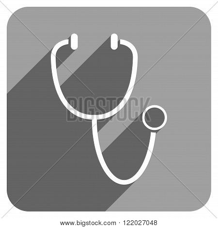 Stethoscope long shadow vector icon. Style is a flat stethoscope iconic symbol on a gray square background.
