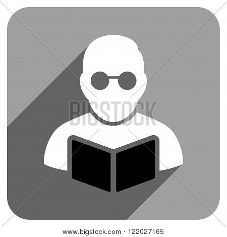 Student Reading Book long shadow vector icon. Style is a flat Student reading book iconic symbol on a gray square background.