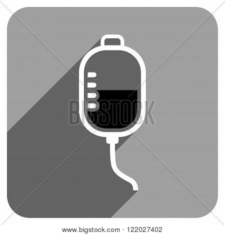 Therapy Dropper long shadow vector icon. Style is a flat therapy dropper iconic symbol on a gray square background.