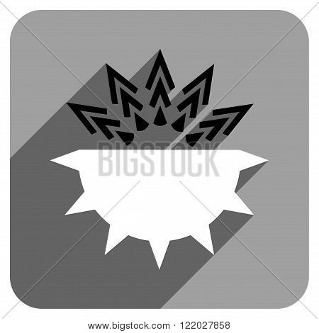 Viral Structure long shadow vector icon. Style is a flat viral structure iconic symbol on a gray square background.