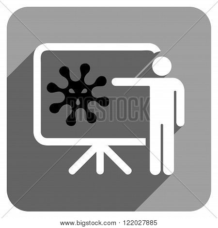 Virus Lecture long shadow vector icon. Style is a flat virus lecture iconic symbol on a gray square background.