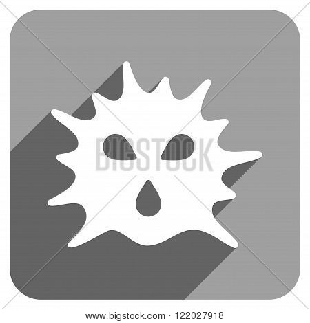 Virus Structure long shadow vector icon. Style is a flat virus structure iconic symbol on a gray square background.