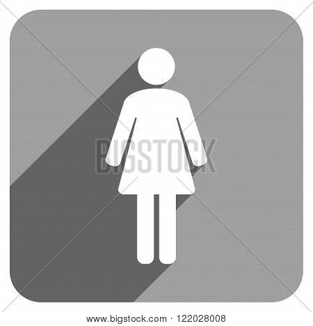 Woman WC long shadow vector icon. Style is a flat woman wc iconic symbol on a gray square background.