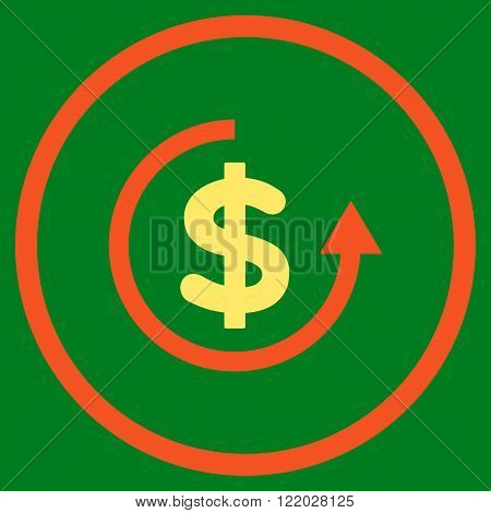 Refund vector icon. Style is bicolor flat rounded iconic symbol, refund icon is drawn with orange and yellow colors on a green background.