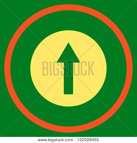 Up Rounded Arrow vector icon. Style is bicolor flat rounded iconic symbol, up rounded arrow icon is drawn with orange and yellow colors on a green background.