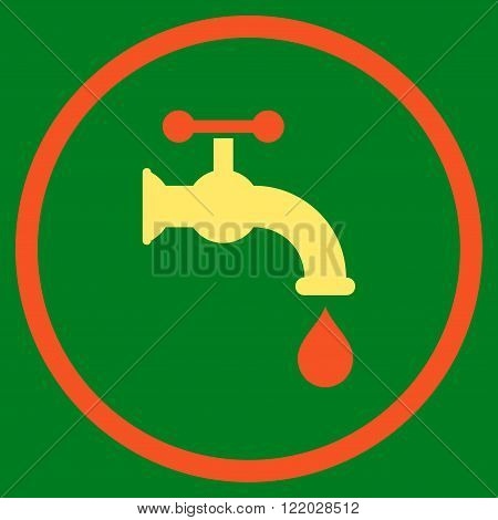 Water Tap vector icon. Style is bicolor flat rounded iconic symbol, water tap icon is drawn with orange and yellow colors on a green background.