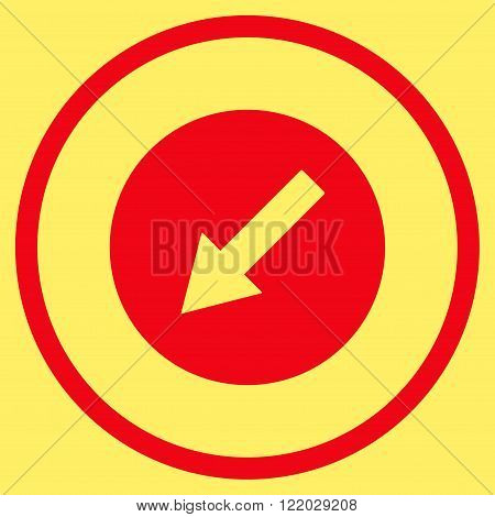 Down-Left Rounded Arrow vector icon. Style is flat rounded iconic symbol, down-left rounded arrow icon is drawn with red color on a yellow background.