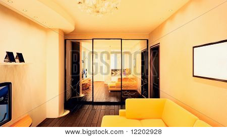 3d render of the small room interior