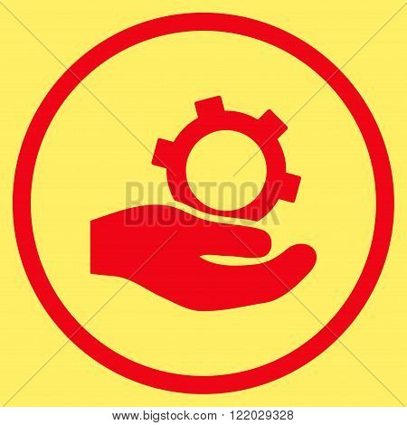 Engineering Service vector icon. Style is flat rounded iconic symbol, engineering service icon is drawn with red color on a yellow background.