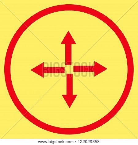 Expand Arrows vector icon. Style is flat rounded iconic symbol, expand arrows icon is drawn with red color on a yellow background.