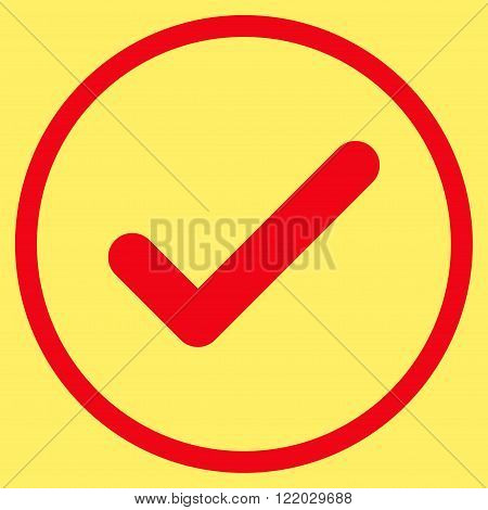 Ok vector icon. Style is flat rounded iconic symbol, ok icon is drawn with red color on a yellow background.