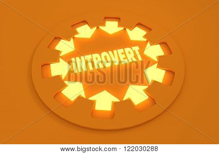 Inrovert simple icon metaphor. image relative to human psychology