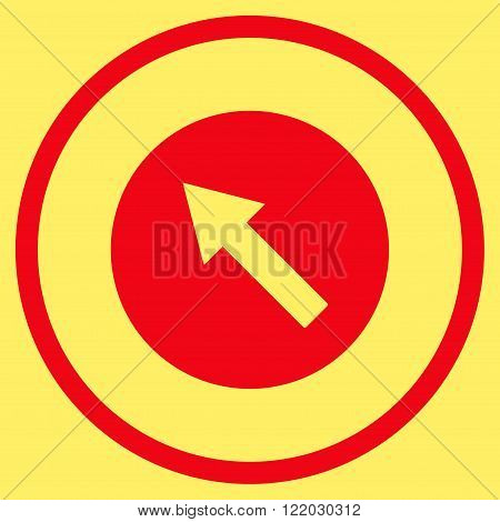 Up-Left Rounded Arrow vector icon. Style is flat rounded iconic symbol, up-left rounded arrow icon is drawn with red color on a yellow background.