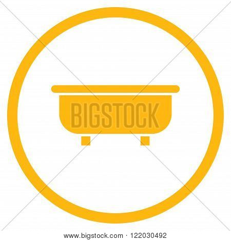 Bathtub vector icon. Style is flat rounded iconic symbol, bathtub icon is drawn with yellow color on a white background.