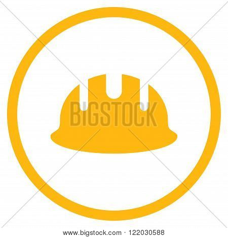 Builder Hardhat vector icon. Style is flat rounded iconic symbol, builder hardhat icon is drawn with yellow color on a white background.