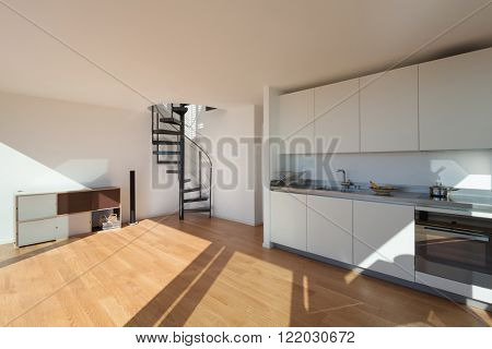 Interior, wide open space of a loft, kitchen and living