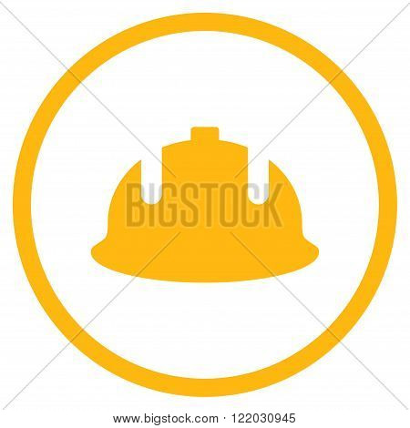 Construction Helmet vector icon. Style is flat rounded iconic symbol, construction helmet icon is drawn with yellow color on a white background.