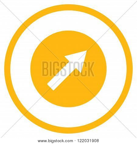 Up-Right Rounded Arrow vector icon. Style is flat rounded iconic symbol, up-right rounded arrow icon is drawn with yellow color on a white background.