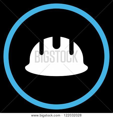 Builder Hardhat vector icon. Style is bicolor flat rounded iconic symbol, builder hardhat icon is drawn with blue and white colors on a black background.