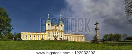 Basilica Minor of the Visitation of the * Mary on Holy Hill near Olomouc in summer - panoramic shot