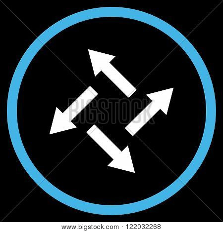 Centrifugal Arrows vector icon. Style is bicolor flat rounded iconic symbol, centrifugal arrows icon is drawn with blue and white colors on a black background.