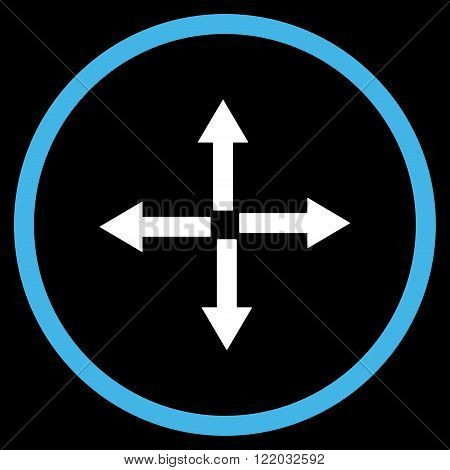 Expand Arrows vector icon. Style is bicolor flat rounded iconic symbol, expand arrows icon is drawn with blue and white colors on a black background.
