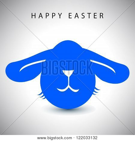 Vector illustration card of easter blue long-eared rabbit egg with white nose