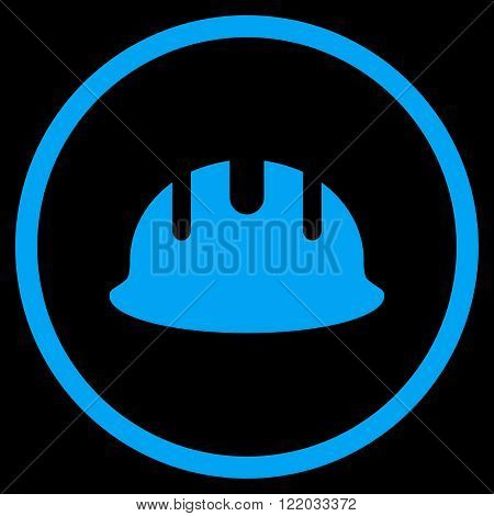 Builder Hardhat vector icon. Style is flat rounded iconic symbol, builder hardhat icon is drawn with blue color on a black background.