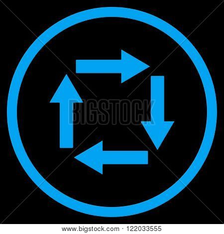 Circulation Arrows vector icon. Style is flat rounded iconic symbol, circulation arrows icon is drawn with blue color on a black background.