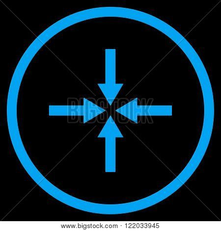 Impact Arrows vector icon. Style is flat rounded iconic symbol, impact arrows icon is drawn with blue color on a black background.