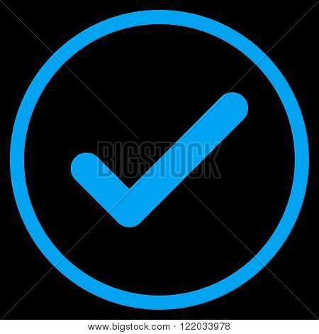Ok vector icon. Style is flat rounded iconic symbol, ok icon is drawn with blue color on a black background.