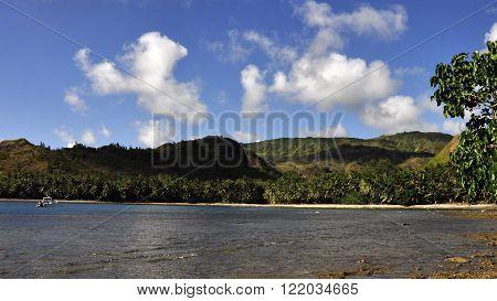 The serene landscape of Cetti Bay on the island of Guam.