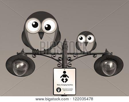 Sepia comical baby changing facilities sign with birds perched on a lamppost