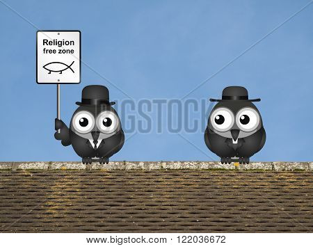 Sepia comical religion free zone sign with bird vicar perched on a rooftop