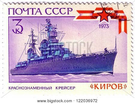 USSR - CIRCA 1973: A stamp printed in the USSR shows Red flag cruiser Kirov, circa 1973